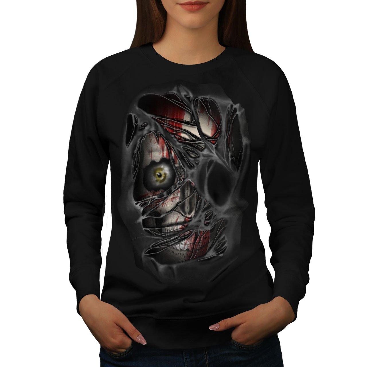 Wellcoda Eye Skeleton Rock Skull Womens Sweatshirt, Torn Print Pullover Jumper