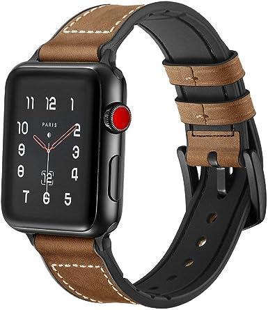 SUPERSUN para Correa Apple Watch 42mm, Cuero Correa iwatch Silicona Reemplazo de Banda para Apple Watch Series 4 44mm, Series 3/Series 2/Series 1, Marrón: Amazon.es: Ropa y accesorios