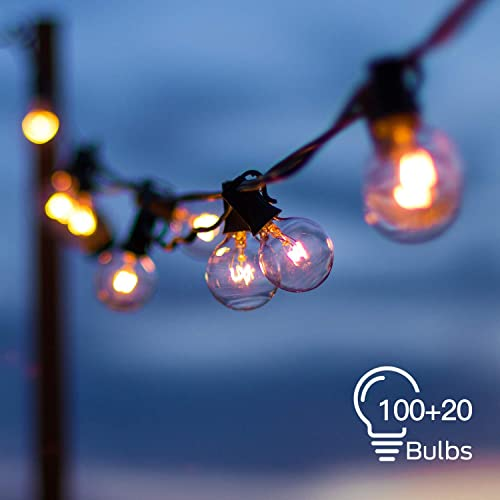 2 Pack Globe String Lights with 100 20 Edison G40 Bulbs 112 Ft Totally, Hanging Outdoor String Lights Connectable Waterproof for Indoor Bedroom Patio Garden Porch Wedding Party Christmas, Black Wire
