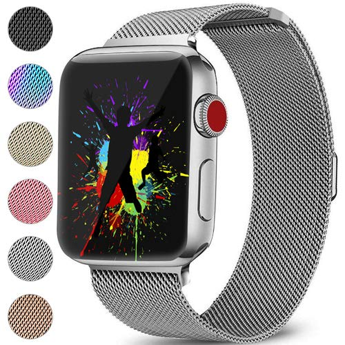 DaQin Bands Compatible with Apple Watch Band 42mm 44mm for Women and Men, Milanese Metal Magnetic Mesh Loop Wristbands for Apple iWatch Series 4 Series 3/2/1, Silver ()