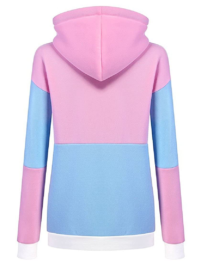 Honey GD Womens Pullover Hit Color Fashion Hooded Pullover Sweatshirt