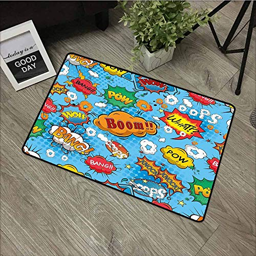 LOVEEO Indoor Doormat,Superhero Colorful Comic Style Icons Effects Boom Scream Magazine Signs Pop Art Illustarion,All Season Universal,29