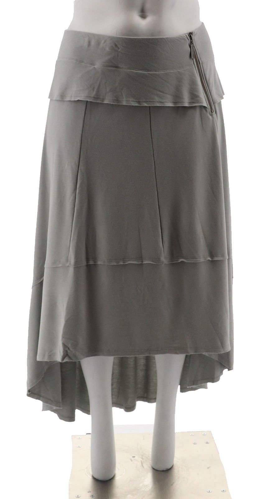 Peace Love World French Terry Hi-Low Maxi Skirt Hamptons Grey L New A290271