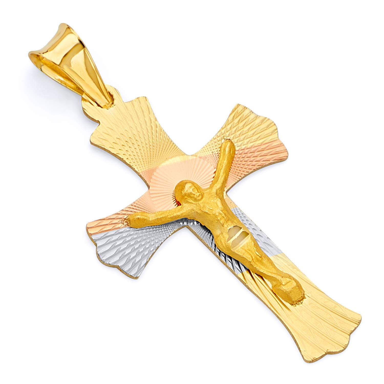 Wellingsale 14K Tri 3 Color Gold Polished Diamond Cut Religious Catholic Gothic Crucifix Charm Pendant