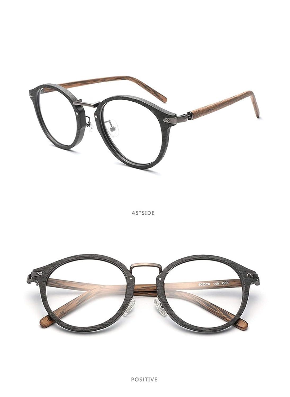JIUPO Holz Brille Ohne St/ärke Brillenfassung Jahre Retro Nerd Runde Rahmen Vollrand Klare Lens