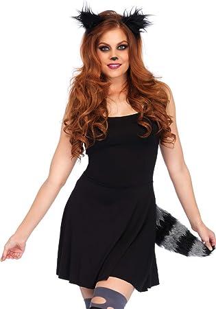 b9694ab9817ab4 Waschbär-Set Kopfschmuck und Schwanz von Leg Avenue Kostüm-Zubehör Damen  Karneval Haarreif Ohren