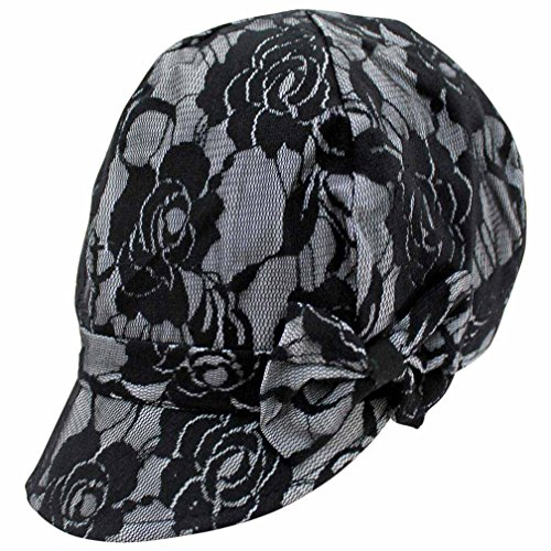 Luxury Divas White & Black Lace Newsboy Cabbie Hat With Bow