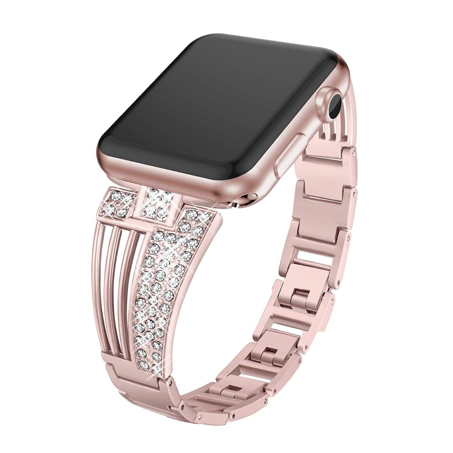 Inno-Huntz Jewelry Bling Band Compatible for Apple Watch Band 38mm 40mm Stainless Steel Replacement for Iwatch Series 4, Series 3, Series 2, 1 Crystal Rhinestone Diamonds Bracelet for Women Rose Gold