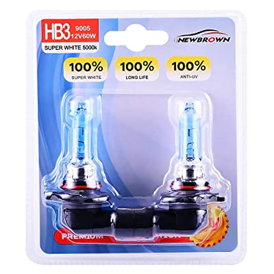 9005 HB3 Halogen Headlight Bulb with Super White Light P20D 12V/60W 5000K, 2 Pack,Long Life: Automotive