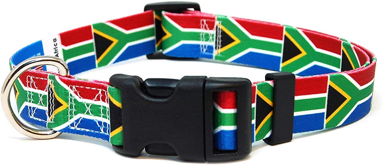 PatriaPet Dog Collar with The South Africa Flag | Great for National Holidays, Special Events, Festivals, Independence Days and Every Day Strong Safe | XSmall Small Medium Large XLarge