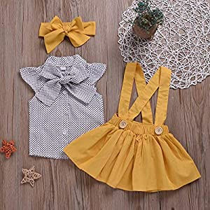 Toddler Baby Girl Dress Sets Polka Dot Ruffle Sleeve Bow Tee Shirt + Yellow Suspender Skirt + Headband Outfits Sets