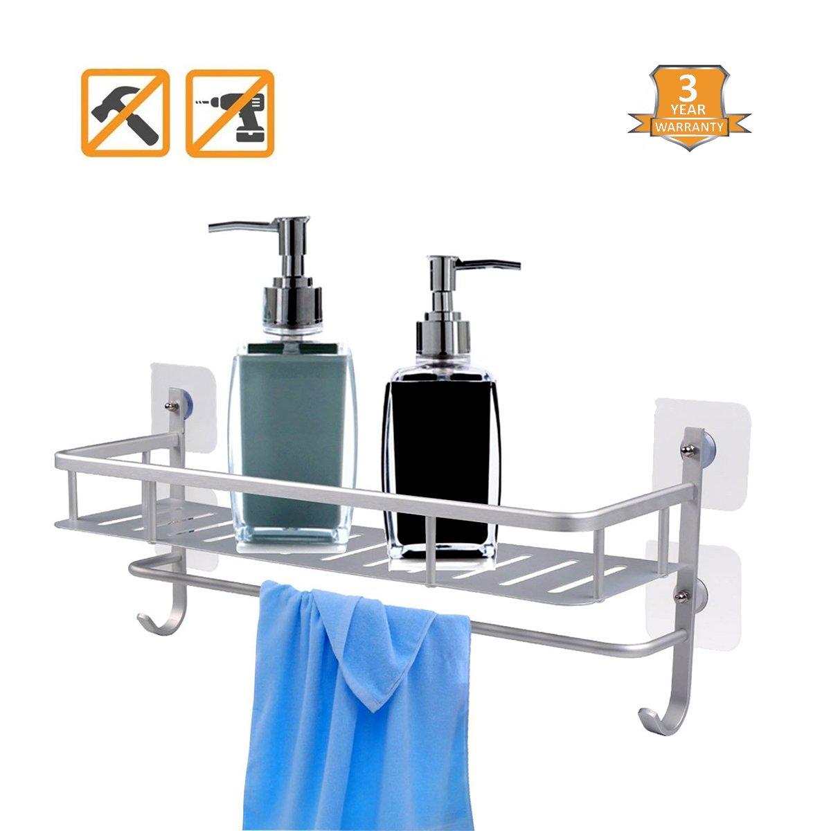 Bathroom Shelf Shower Caddy, Self Adhesive Shelf, No Drilling Anti-Rust Aluminum Shower Storage Shampoo holder Shelves with Towel Rack Hanger Hooks