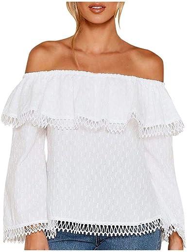 VJGOAL Mujeres Otoño Moda Casual Sexy Hombros a la Vista Orejas de Madera Dulce Camisetas de Manga Larga Blusa Camiseta: Amazon.es: Ropa y accesorios