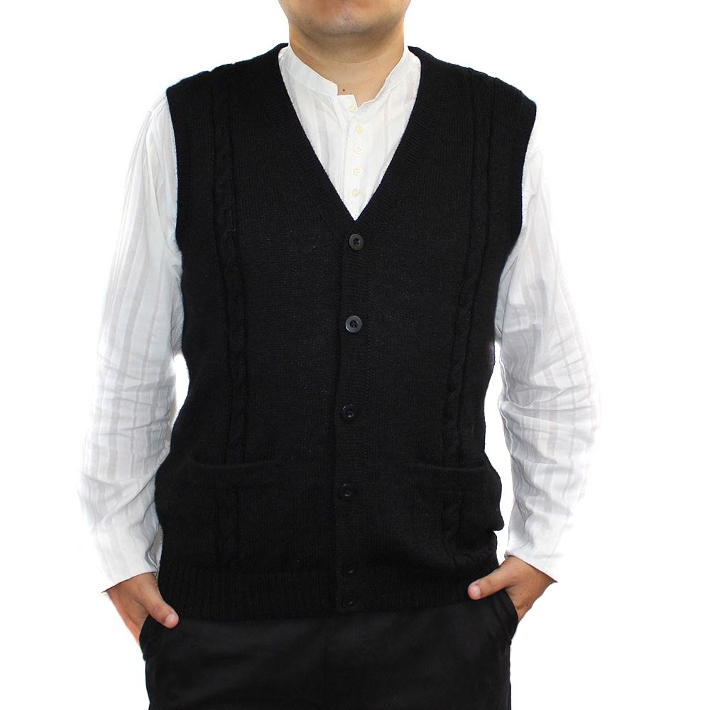 CELITAS DESIGN Alpaca Vest Sweater Jersey with BRIAD Black V Neck Buttons and Pockets Made in Peru