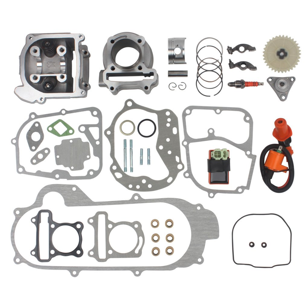 Wingsmoto 100cc Big Bore Kit for 64mm Valve GY6 49CC 50CC 139QMB Moped Scooter Engine 50mm Bore Upgrade Set with Racing CDI Ignition Coil Performance Spark Plug (64mm Valve Length) by Wingsmoto