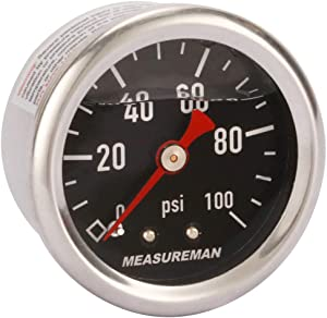 "MEASUREMAN 1.5"" Black Dial, 304 Stainless Steel case, Liquid Filled Fuel Pressure Gauge, 0-100Psi, -3-2-3%, 1/8"" NPT Center Back Mount"