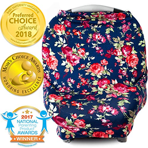 Multi Functional Nursing Wrap - Nursing Cover, Car Seat Canopy, Shopping Cart, High Chair, Stroller and Carseat Covers for Girls- Best Stretchy Infinity Scarf and Shawl- Multi Use Breastfeeding Cover Up- Vintage Navy Floral Print