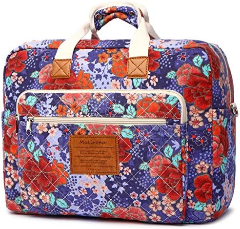Malirona Women s Canvas Overnight Weekender Bag Carry On Travel Duffel Tote Bag Bohemian Flower Cherry Blossoms
