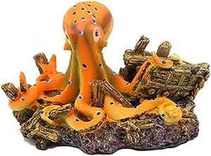 Resin Octopus Aquarium Decoration, Betta Fish Ornament, Freshwater Ornament - Small and Medium Fish Tank Decor