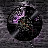 GHQ LED Record Wall Clock Decorative Children Bedroom Math Theme Color Change Vintage Backlight Lamp Silent 12 Inch