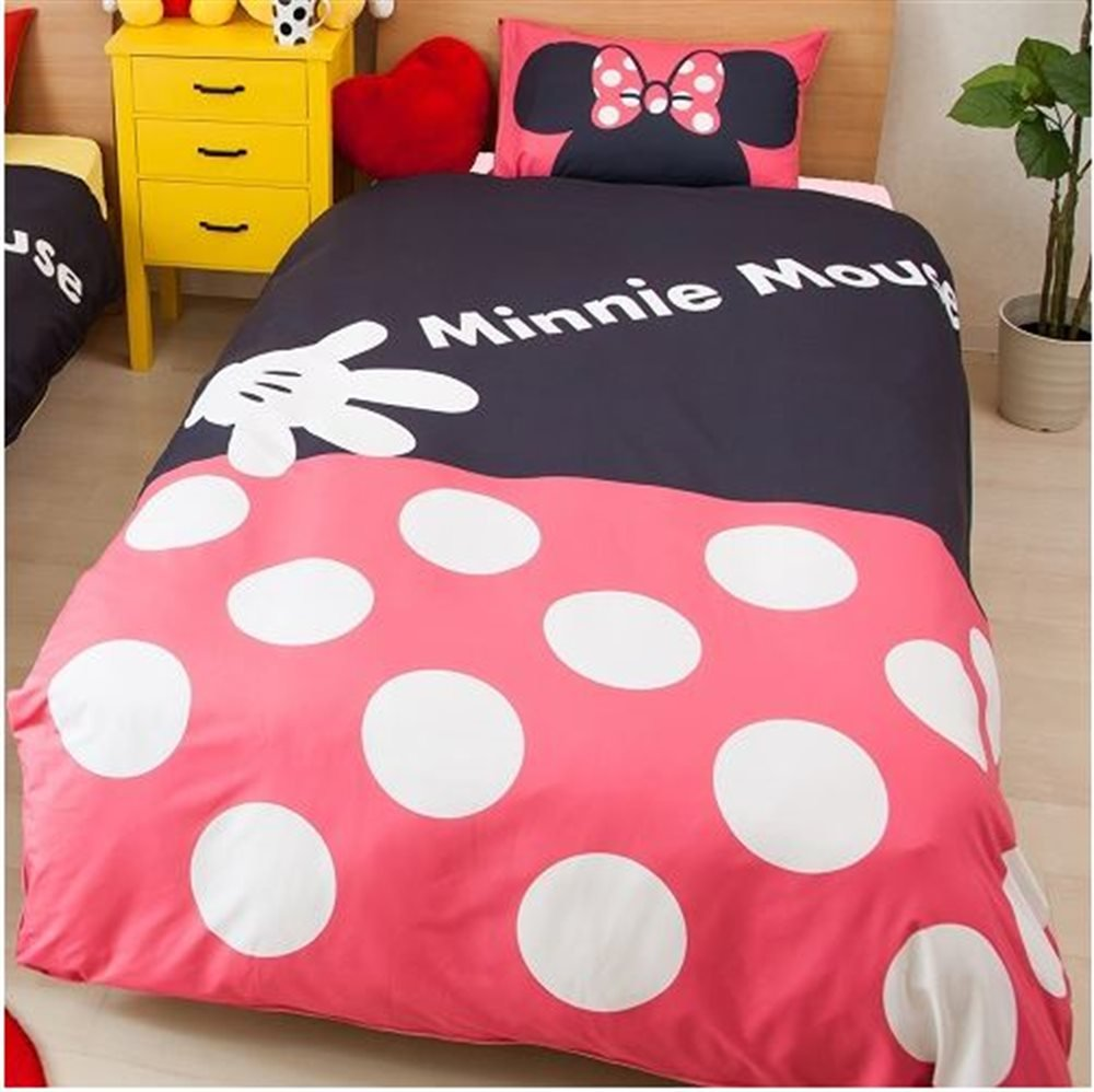Disney Minnie Duvet cover Sheets Pillow case three-piece set for Twin sized bed