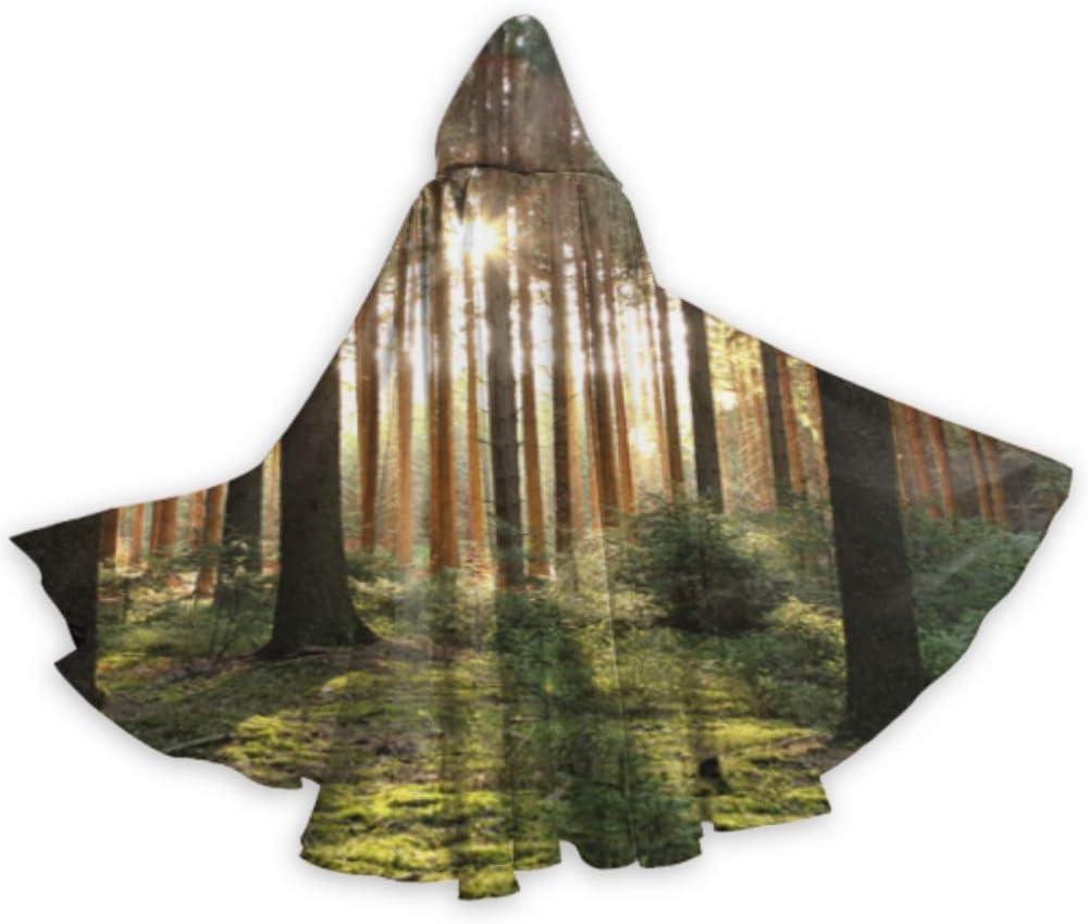 LONGYUU Bosque Verde Árboles Naturales Hombres Capucha Capa Niños Capucha Capa 59 Pulgadas para Navidad Disfraces de Halloween Cosplay: Amazon.es: Hogar