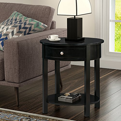Convenience Concepts 501042BL Classic Accents Cypress End Table, Black Brass Oval Accent Table