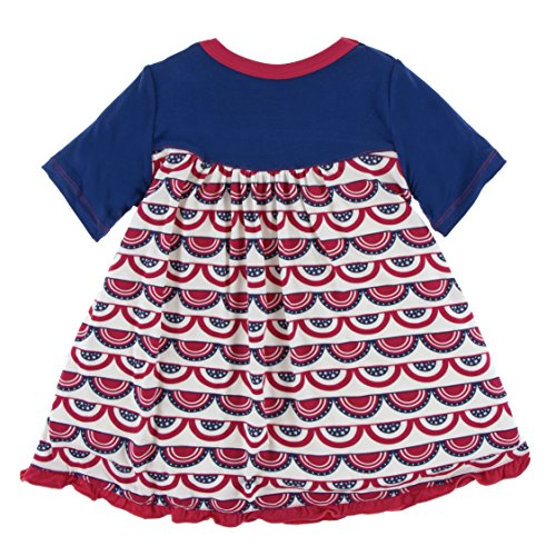 Girls Print Classic Short Sleeve Swing Dress, Flag SWAG, 3T (Classic Swag)