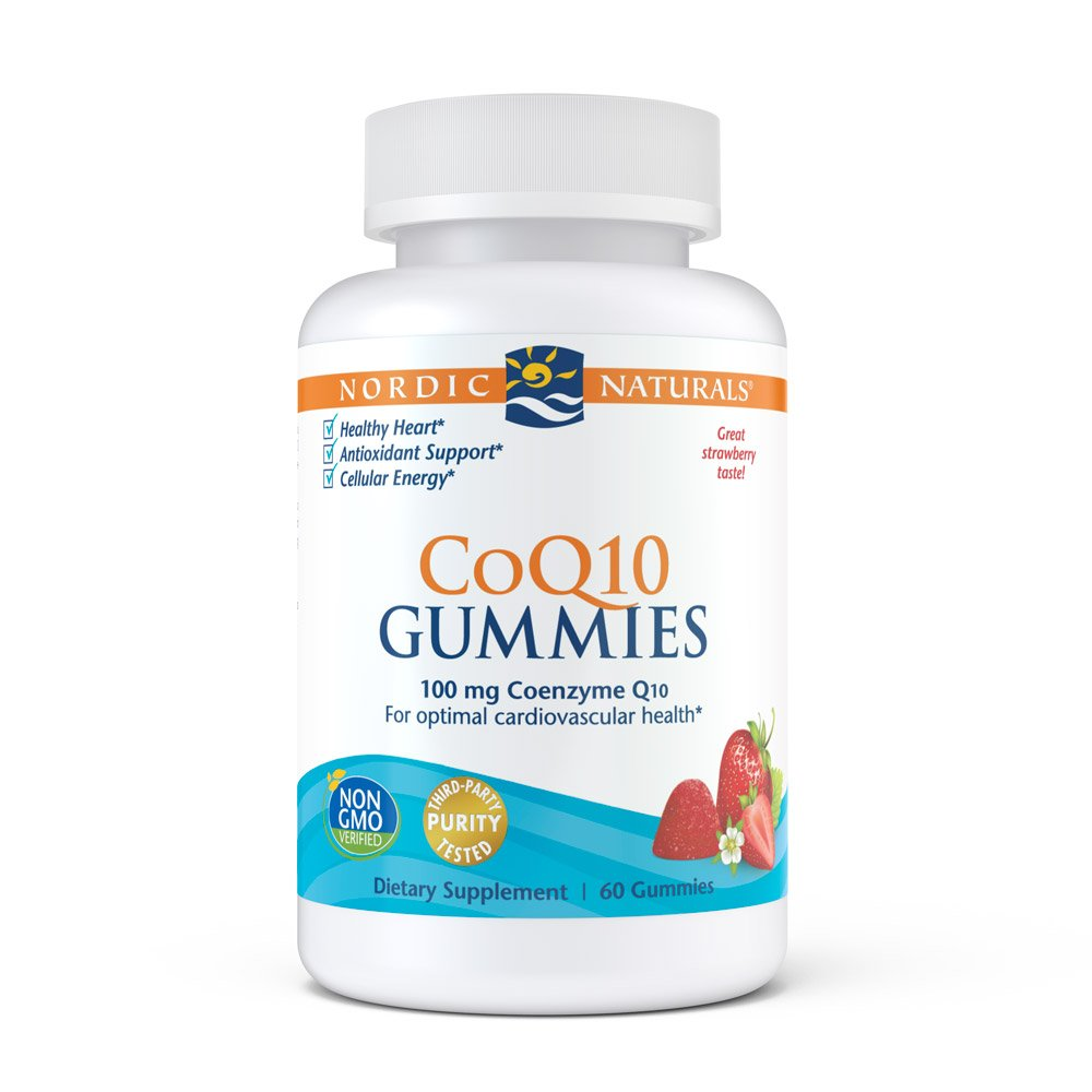 Nordic Naturals CoQ10 Strawberry Gummies - A Powerful Antioxidant To Protect Against Free Radicals, Gives Cellular Energy By Aiding ATP Production and Helps Support Heart Health, Chewable, 60 Count
