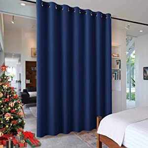 RYB HOME Partition Room Dividers - Light Block Thermal Insulated Seperating Curtains Grommet for Spare Bedroom Loft Home Office Living Room, 1 Panel, Navy Blue, 12.5 ft Wide x 8 ft Long