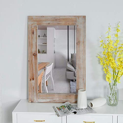 Rustic Wood Frame Wall Mirror, Large Rustic Farmhouse Mirror Decor, Vertical or Horizontal Hanging, for Bathroom Vanity, Living Room or Bedroom Gray