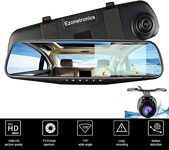 7/'/' HD 1080P Dual Lens Car DVR Vehicle Rearview Mirror Camera Recorder Dash Cam
