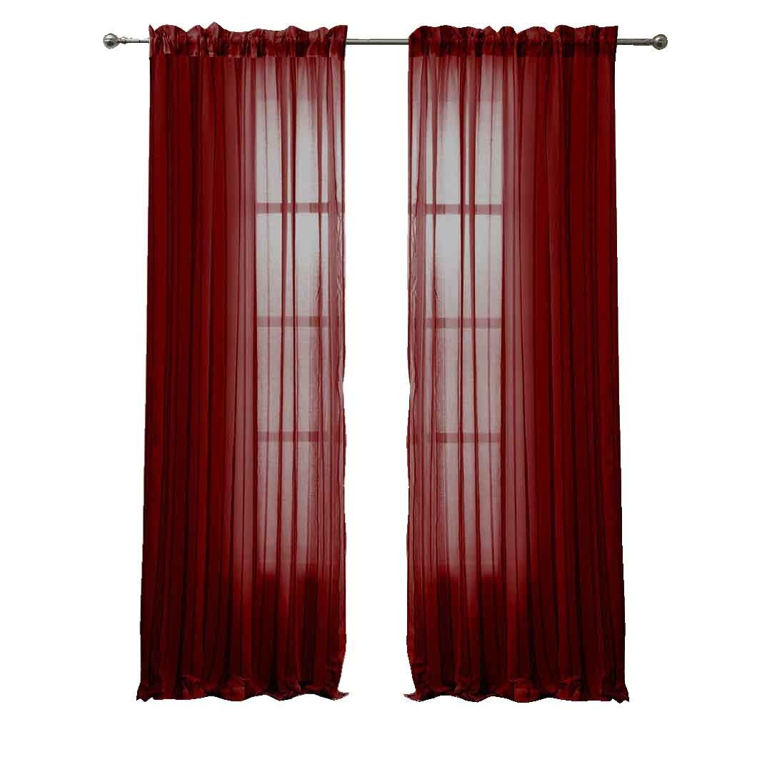 Amazon Peach Couture Solid Color Woven Curtains Sheer