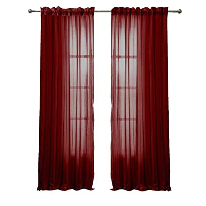 Amazoncom Peach Couture Solid Color Woven Curtains Sheer Window