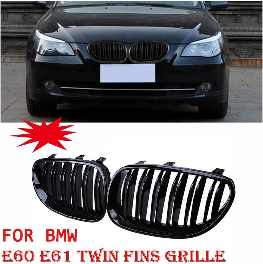 Gazechimp 2pcs Sportgrill Grills Flossen Gitter f/ür BMW E60 E61 2004/—2009 Mit Gl/änzender Nieren Fronthaube