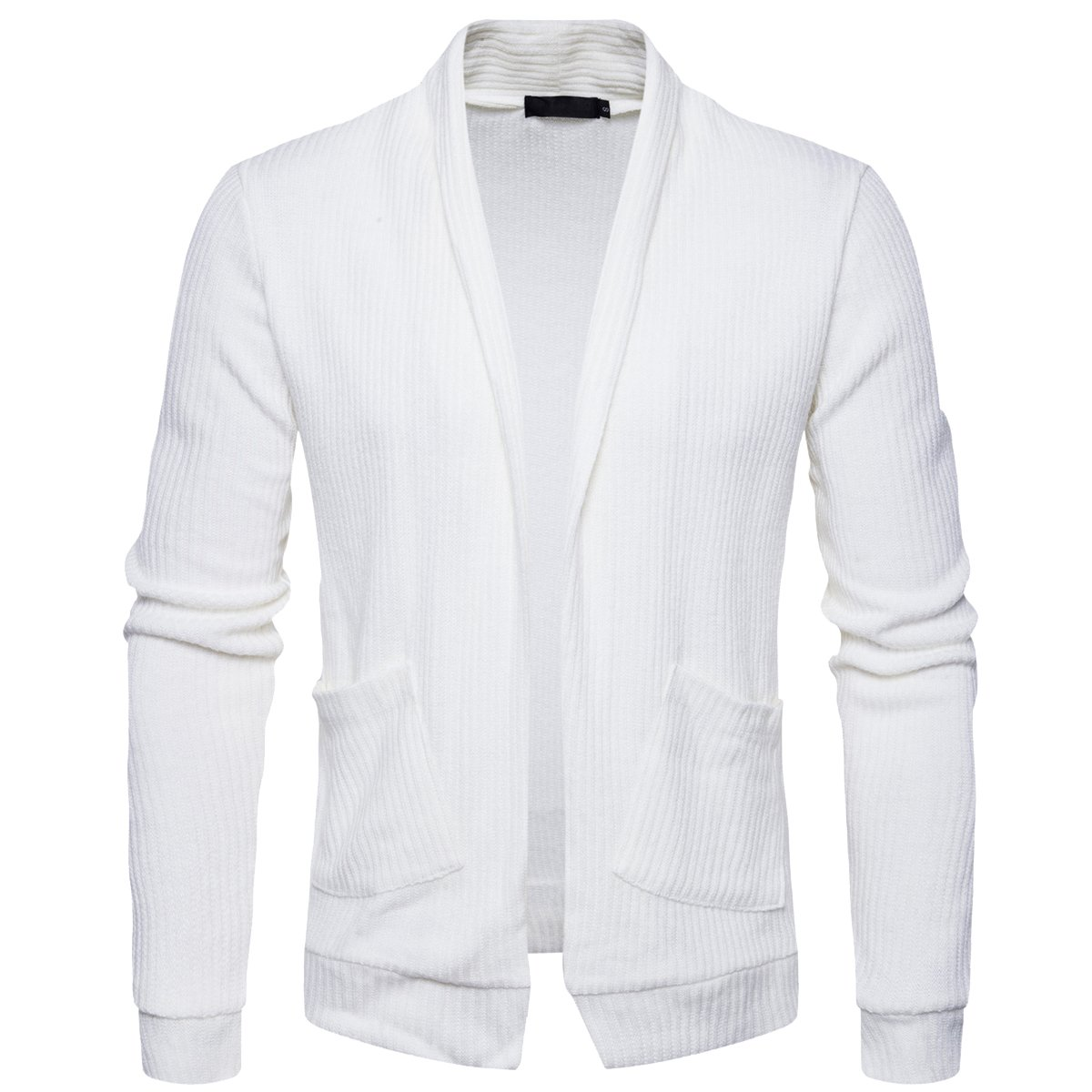 Cottory Men's No Button Pure Color Soft Shawl Collar Cardigan Sweater White Large