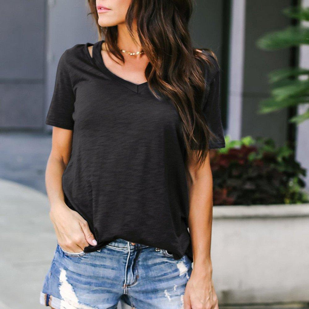 Ladies Asymmetrical Hem Blouses, Gogoodgo Women's Plain V Neck Spaghetti Straps Tops Elastic Fabric Short Sleeves Tops Black by Gogoodgo vest (Image #4)