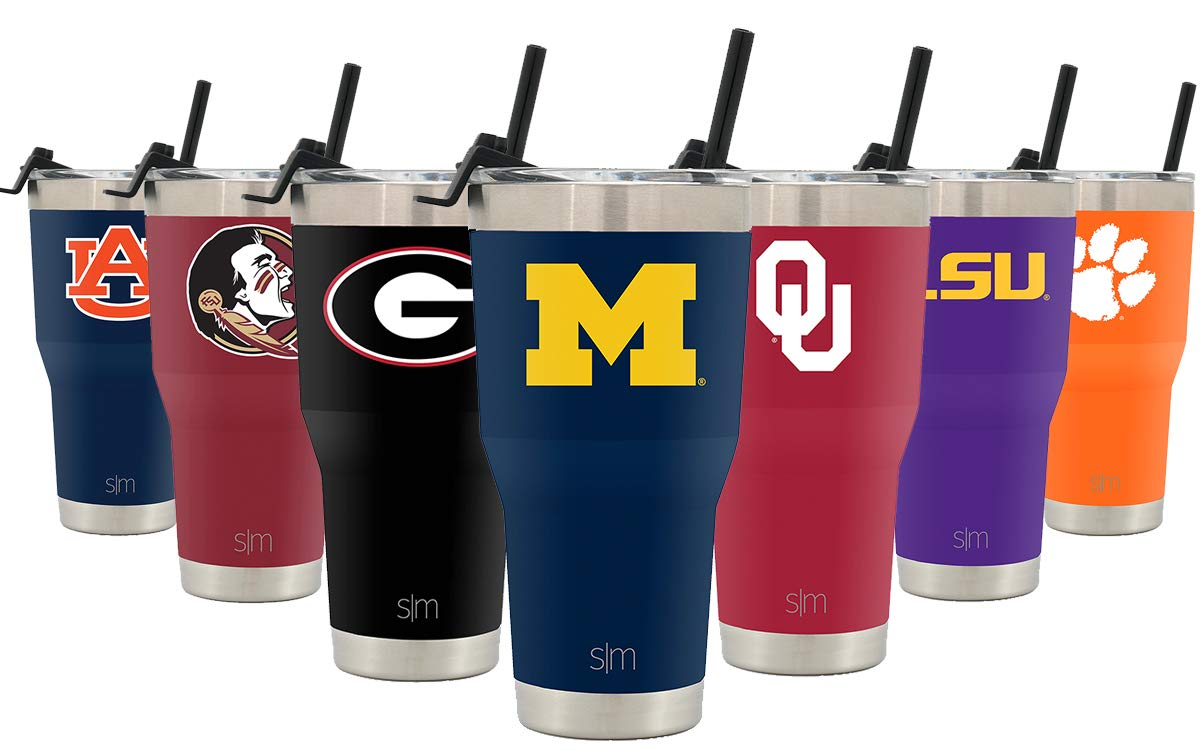 Simple Modern College 30oz Cruiser Tumbler with Straw & Closing Lid - Michigan Wolverines - 18/8 Stainless Steel Vacuum Insulated NCAA University Cup Mug by Simple Modern