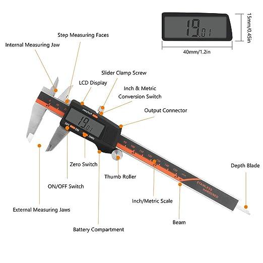 conversi/ón de mil/ímetro//pulgada//fracci/ón Welltop Calibrador digital Vernier medidor electr/ónico digital de 150 mm con pantalla LCD grande y cuerpo de acero inoxidable
