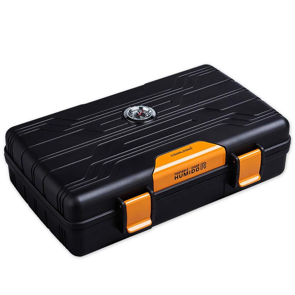 葉巻ヒュミドール シガーボックス、10パックポータブルシガーヒュミドール、環境にやさしいLDPE旅行シガーの保湿キャビネットモイスチャーメーターモイスチャライジングデバイス、サイズ:21.5x12.3x5.5cm (色 : B)  B B07NVCWCWP
