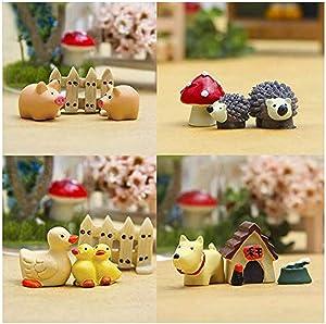 Ximimark 4Sets Mini Landscaping Doll Kit Dollhouse Bonsai Craft Garden Accessories Fairy Garden Plant Flower Pots Ornament(Hedgehog Mushroom/Pigs Fence/Dogs House/Duck Fence)