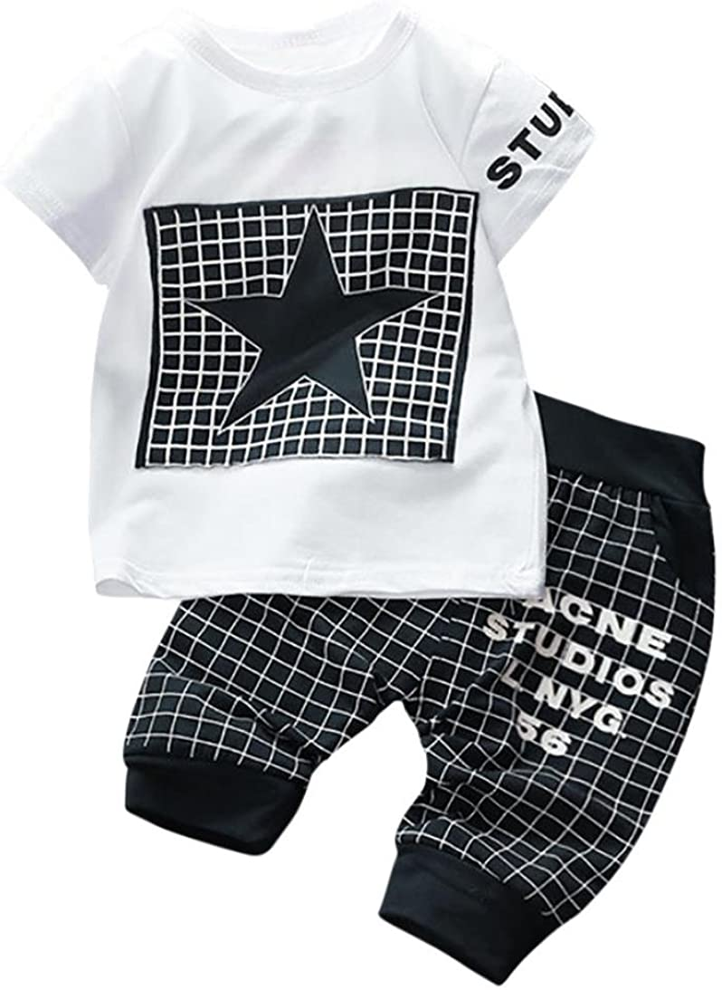 K-youth Conjuntos Bebé Niño, Ropa Recién Nacidos Bebe Niño Camiseta Mangas Cortas Enrejado Estrellas Cartas Estampado Tops y Pantalones Verano Ropa Conjunto