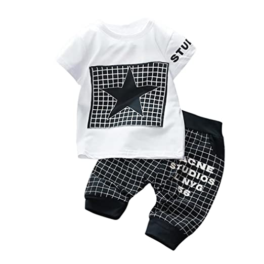 f4d906b15982 Amazon.com  FORESTIME 2PC Infant Kids Girls Boys Plaid Star Print ...