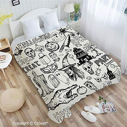 PUTIEN Warm Flannel Blanket,Hand Drawn Halloween Doodle Trick or Treat Knife Party Severed Hand Decorative,for Bed,Couch,Car(72.83