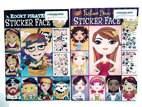(PROSPERITY DEVINE KOOKY Pirates and Fashion Diva Sticker FACE Activity Books for Kids, Teens and Adults (2 Books))