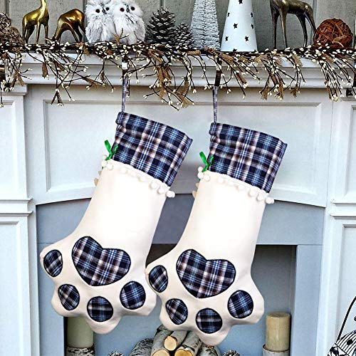 OurWarm Pet Cat Christmas Stocking, Blue Plaid Pet Paw Christmas Stockings for Christmas Fireplace Tree Decorations, 18 x 11 Inch