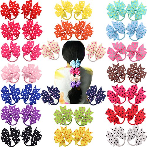 40pcs(20 Colors In Pairs) Boutique 3 Pinwheel Hair Bows Ponytail Holder Thick Elastic Band Pigtail Tie for Baby Girls Toddlers