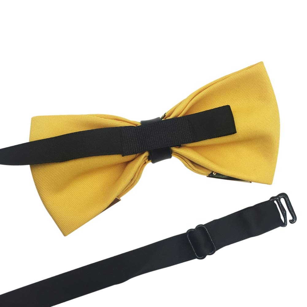 Mens Pre-tied Golden-Metal-Edged Two-Layer Bow Ties Various Colors Wine Red