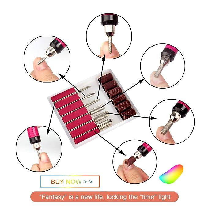 Pulidor de Uñas Kit de Manicura Pedicura Pluma de Taladro de Uñas Set manicura pedicura profesional 6 en 1 Velocidad Ajustable torno para uñas (Rojo)