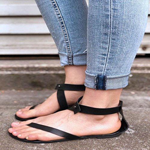 hunpta Summer Women Ladies Sandals Strap Flat Ankle Roman Cusual Shoes Thong Footwear Black CdD7HMaf